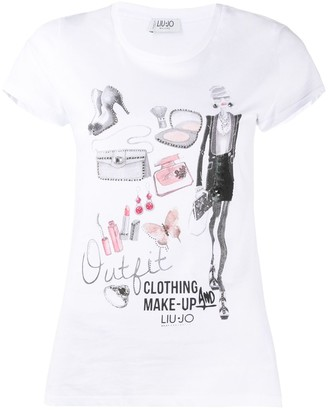 Liu Jo short-sleeved rhinestone embellished T-shirt