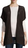 Neiman Marcus Short-Sleeve Open-Weave Cashmere Cardigan