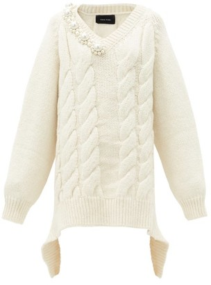 Simone Rocha Pearl-embellished Oversized Cable-knit Sweater - Cream