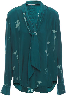 Equipment Fayanna Tie-neck Floral-print Washed-silk Blouse