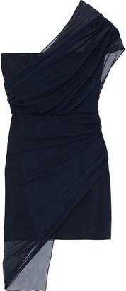 Cushnie One-shoulder Draped Chiffon And Silk Crepe De Chine Mini Dress