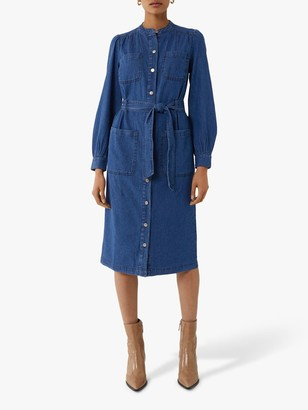 Warehouse Granddad Collar Shirt Dress, Dark Wash Denim