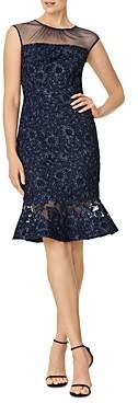 Aidan Mattox Illusion Lace Midi Dress