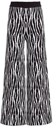 STAUD Mitchell Zebra-Print Wide-Leg Pants
