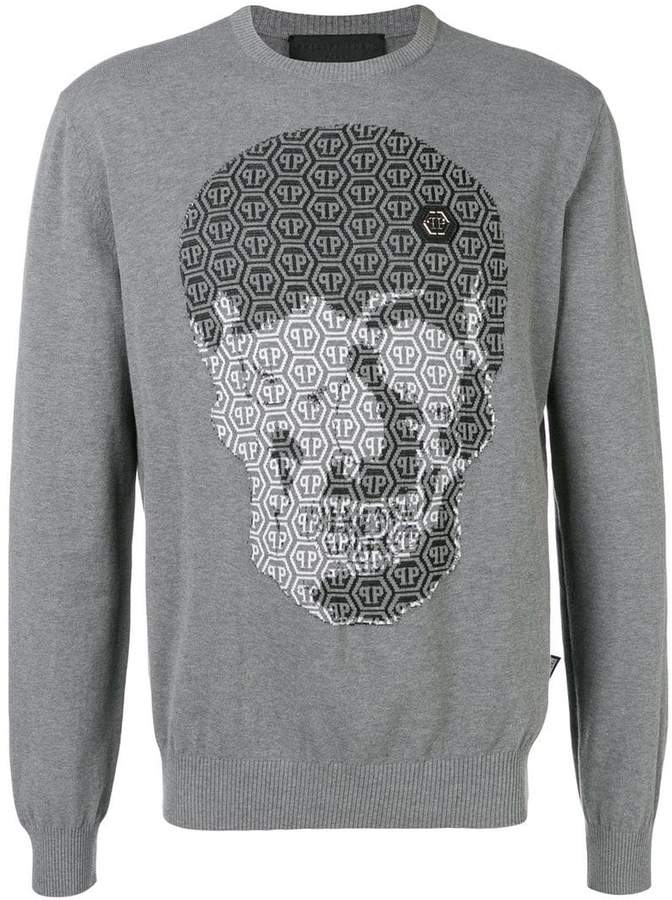 ff6f091ff12 logo skull embroidered sweater