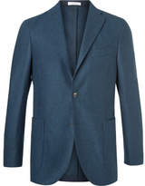 Boglioli Blue Slim-fit Mélange Virgin Wool Blazer - Navy