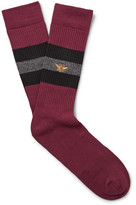 Mr. Gray - Bee-embroidered Striped Stretch-knit Socks - Burgundy