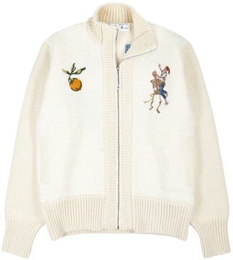 Off-White Pascal Painting Embroidered Wool-blend Bomber Jacket