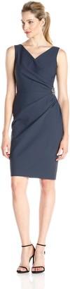 Alex Evenings Women's Sleeveless Embellished Side Dress with Ruffle
