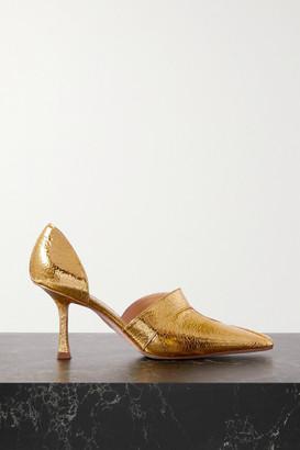 A.W.A.K.E. Mode Loretta Cutout Metallic Faux Textured-leather Pumps - Gold