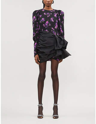 Magda Butrym Matera floral-print taffeta-skirt silk-crepe de chine mini dress