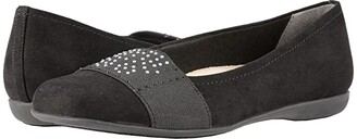 Trotters Samantha (Black Microfiber/Elastic) Women's Slip on Shoes