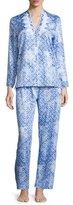 Oscar de la Renta Printed Cotton Sateen Pajama Set, Blue