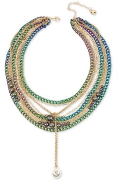 """BCBGeneration Two-Tone Crystal & Imitation Pearl Multi-Row Statement Necklace, 16"""" + 3"""" extender"""