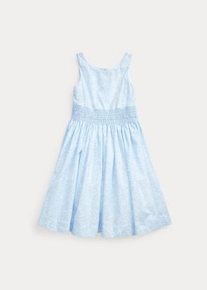 Ralph Lauren Smocked Floral Cotton Dress