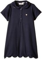 Armani Junior Short Sleeve Dress with Scallop Hem Girl's Dress