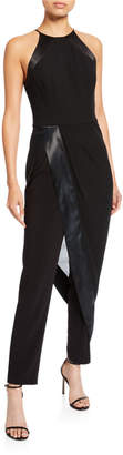 Halston High-Neck Sleeveless Crepe Jumpsuit with Georgette Overlay