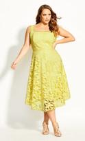 City Chic Avery Lace Dress - buttercup