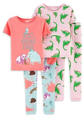 Child of Mine by Carter's Baby & Toddler Girl Snug Fit Cotton Short Sleeve Pajamas, 4pc Set (12M-5T)