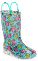 Western Chief Toddler Girl's 'Owl Woods' Light-Up Rain Boot