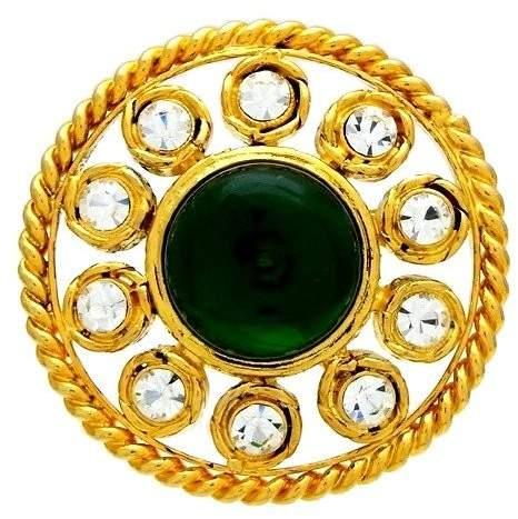 Chanel Gold Tone Metal Green Stone Rhinestone Round Brooch Pin
