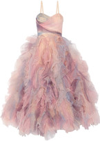 Marchesa Ruffled Tulle Gown - Pastel pink