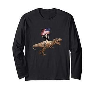 George Washington Dinosaur Fourth Of July Long Sleeve T-Shirt