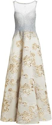 Teri Jon By Rickie Freeman Embellished Metallic Floral Jacquard Gown