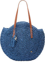 Capelli of New York Straworld Circular Woven Straw Shoulder Bag, Navy