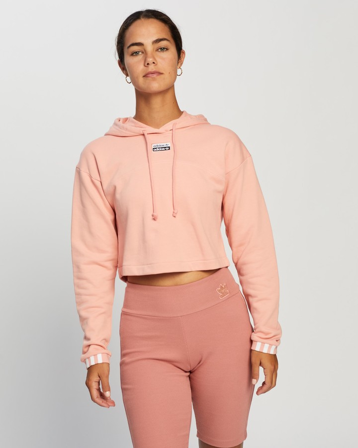 adidas Women's Pink Hoodies - R.Y.V. Cropped Hoodie - Size 14 at The Iconic
