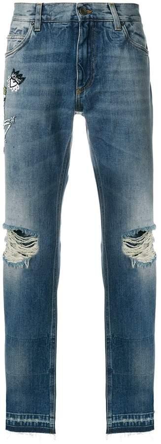 Dolce & Gabbana skeleton king distressed loose fit jeans