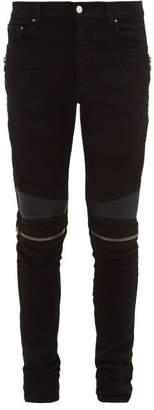 Amiri Mx2 Skinny-leg Leather-panel Jeans - Mens - Black