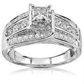 JeenJewels 1.00 Carat Discount Diamond Engagement Ring with Princess cut Diamond on 14K White gold