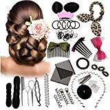 45PCS Hair Styling Kit LuckyFine Hairdresser Magic Hair Clip Styling Pads Foam Sponge Bun Donut Hair Clip Accessory Tool