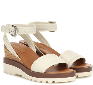 See By Chloã© Leather wedge sandals