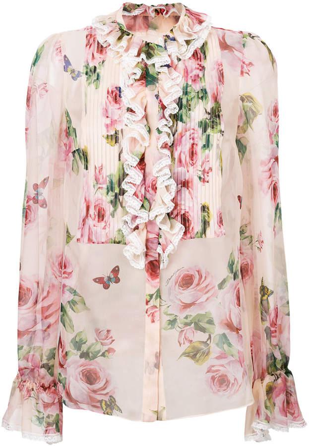 Dolce & Gabbana rose print ruffled blouse