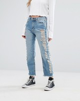 Pull&Bear Extreme Distressed Side Jean with Raw Hem