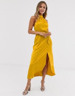 Miss Selfridge midi dress in self spot jacquard