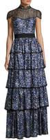 Alice + Olivia McKee Mock-Neck Tiered Printed Satin Maxi Dress w/ Lace