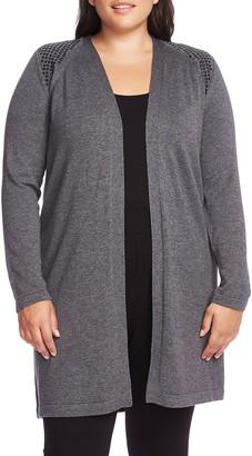 Vince Camuto Studded Shoulder Long Cardigan