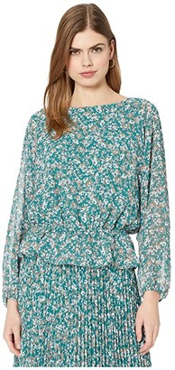 1 STATE Long Sleeve Woodland Floral Drop Waist Blouse (Veridian Emerald Multi) Women's Clothing