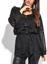 Miss June Black Embroidered Tassel Tunic