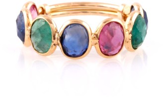 Emerald Ruby Sapphire Faceted Oval Stackable Ring Band In 18K Yellow Gold