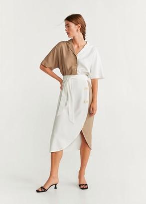MANGO Bicolor crop shirt white - 2 - Women