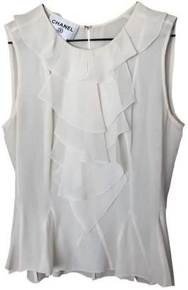 Chanel White Silk Tops