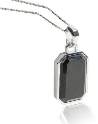 Adore Adorn Jewelry Black Onyx Pendant with Franco Chain - Rhodium