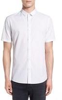 Topman Trim Fit Dot Print Short Sleeve Shirt