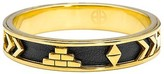 House Of Harlow By Nicole Richie 14kt Yellow Gold Plated Aztec Bangle with Black Leather