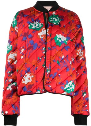 Plan C Floral Print Padded Bomber Jacket