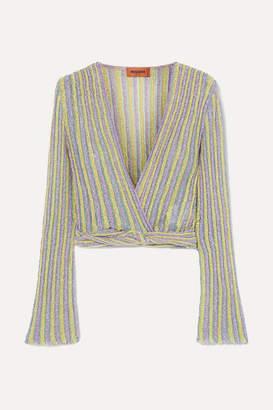 Missoni Cropped Wrap-effect Metallic Striped Crochet-knit Top - Lilac